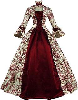 WanYangg Donna Elegante Rinascimentale Manica Lunga Vestito Lungo Volant Medioevo Costume Medievale Bambina Vestiti Gotici...