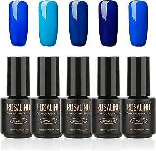 ROSALIND Esmalte de uñas de gel semipermanente Soak Off UV LED Manicura Pedicura salón 5 Pack 7ml (azul)