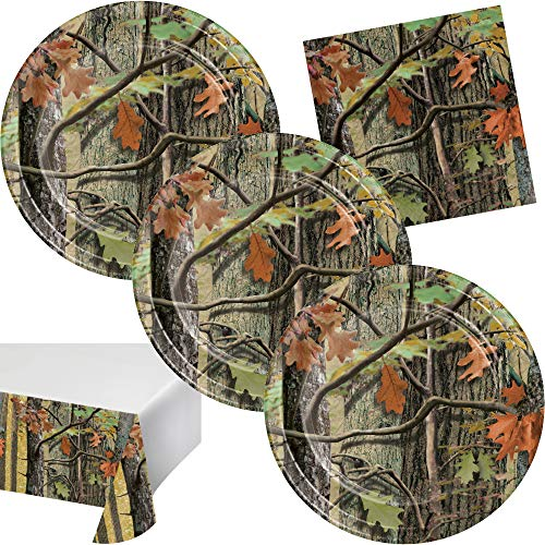 Camo Birthday Party Supplies Hunting Theme Disposable Tableware Set Serves up to 16 Guests Includes Plates, Napkins, and Table Cover