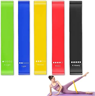 GANA Resistance Loop Bands, Exercise Bands, Set of 5 Natural Latex Fitness Bands for Workout and Physical Therapy, E-Guid...