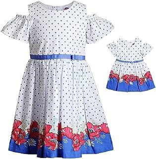 Dollie & Me Girls Size 4-14 White Dot Poppies Cold Shoulder Dress