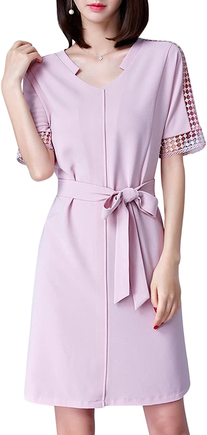 Springrain Women's V Neck Hollow Out Short Sleeve Bowknot A-Line Midi Dress with Pink