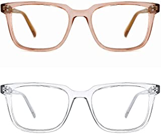 TIJN Blue Light Filter Computer Glasses for Blocking UV Harmful Rays Retro Eyeglasses for Women Men