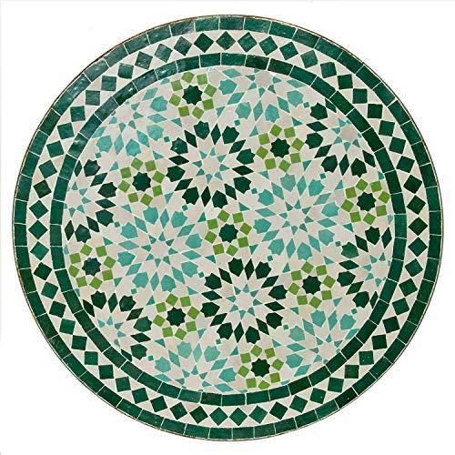 Casa Moro Mediterraner Gartentisch marokkanischer Mosaiktisch M60-45 türkis Ø 60cm rund mit Gestell H 73 cm Kunsthandwerk aus Marrakesch Dekorativer Bistrotisch Beistelltisch Balkontisch MT2077