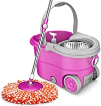Wheel Bucket System with Stainless Steel Rolling Mop Set for Floor CleaningWith Extended Length Adjustable Handle 3 Micro ...