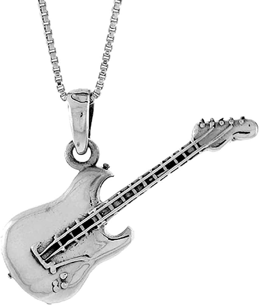 Sterling Houston Mall Cheap mail order shopping Silver Guitar Pendant 1 2 inch