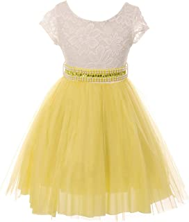 Cap Sleeve Lace Top Tulle Pearl Stone Belt Easter Graduation Flower Girl Dress