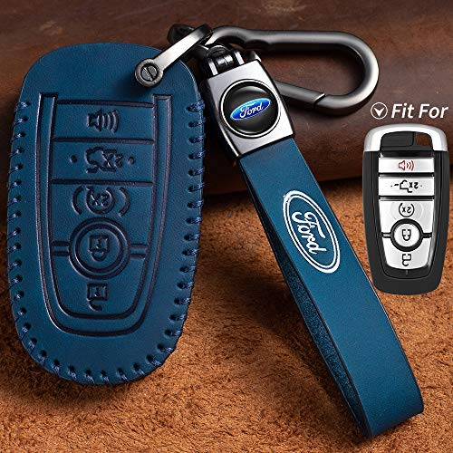 Nonesuper Car Key fob Case Leather Key Cover Key Chain Suit for 2018 2019 Ford Fusion F150 F250 F350 F450 F550 Edge Explorer Escape Protection Key Case Keychain Business Birthday Gift