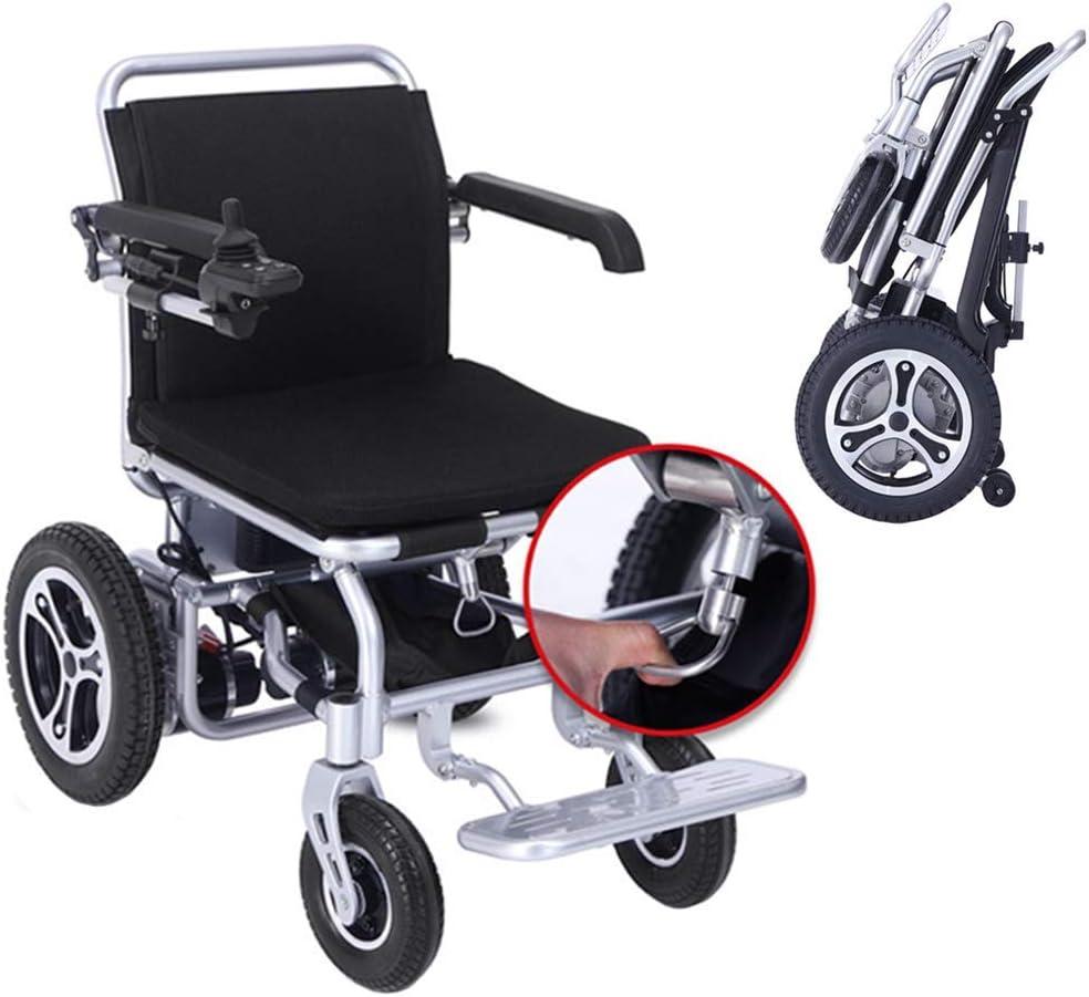 HDGZ Deluxe Plegable Plegable Power Compacto Mobility Aid Wheel Chair, Silla de Ruedas eléctrica Ligera y Plegable con 2 baterías, Silla de Ruedas motorizada, Silla de Ruedas Potente con Doble Motor