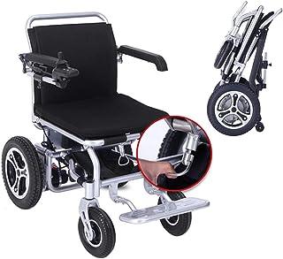 Alqn Silla plegable plegable plegable de la ayuda de la movilidad eléctrica, silla de ruedas eléctrica ligera plegable del transporte con 2 baterías, silla de ruedas motorizada, silla de ruedas poten