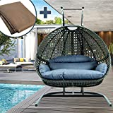 JOYBASE 2-Person Hanging Swing Chair with Stand, Hanging Egg Chair, Wicker Rattan Teardrop Chair with Cushion for Indoor Outdoor Garden Patio (Blue&Black)