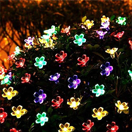 Peach Blossom Solar Light Power LED snoer feeënachtige licht Sun Garland tuin kerstdecoratie buitenverlichting (5 m 7 m 12 m 22 m), naturel