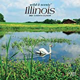 Illinois Wild & Scenic 2021 7 x 7 Inch Monthly Mini Wall Calendar, USA United States of America Midwest State Nature