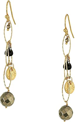 Black Mix Chain Earrings with Pearl Drop