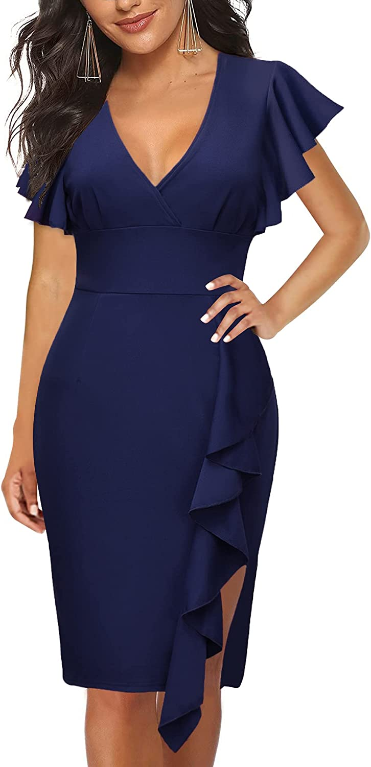 Women's Vintage Deep-V Ruffle Sleeves Keen Length Bodycon Evening Cocktail Party Pencil Slit Formal Dress