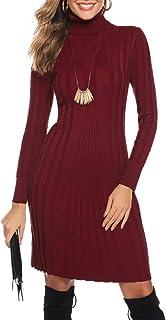Hawiton Vestido de Punto para Mujer Vestido de Suéter de Cuello Alto de Manga Larga Vestido de Invierno de Punto con Cable...