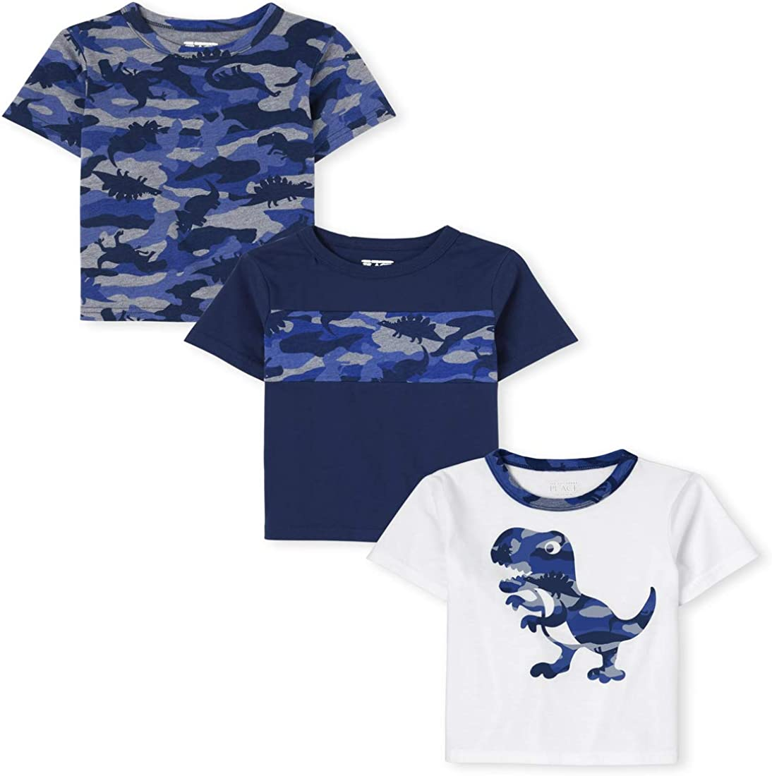 The Children's Place Baby Boys' Dino Print Shirts, Pack of Three