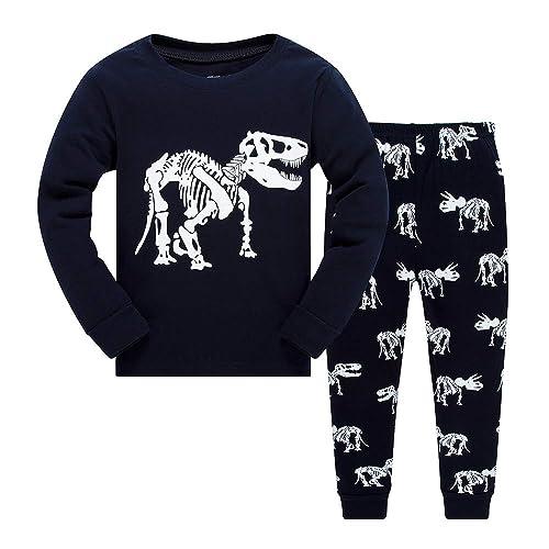 2856d66981 BABSUE Little Boys Pyjamas Set Dinosaur Toddler Kids PJS Sets Christmas  Long Sleeve Nightwear Cotton Clothes