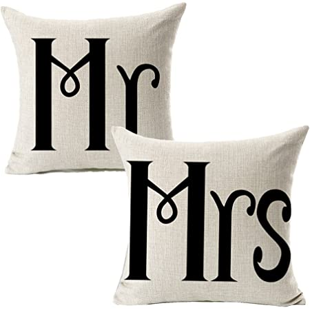 Amazon Com Pattern Pop Personalized Brush Script Mr Mrs Throw Pillow Cover 17x17 Throw Pillow Cover No Insert Decorative Throw Pillow Cover Soft Polyester Home Kitchen