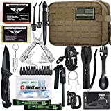 EVERLIT Emergency Survival Kit Gen II Gear Tool First Aid Kit SOS Emergency Tactical Flashlight Blanket Bracelets Compass with Molle Pouch for Camping Adventures (Coyote Brown)