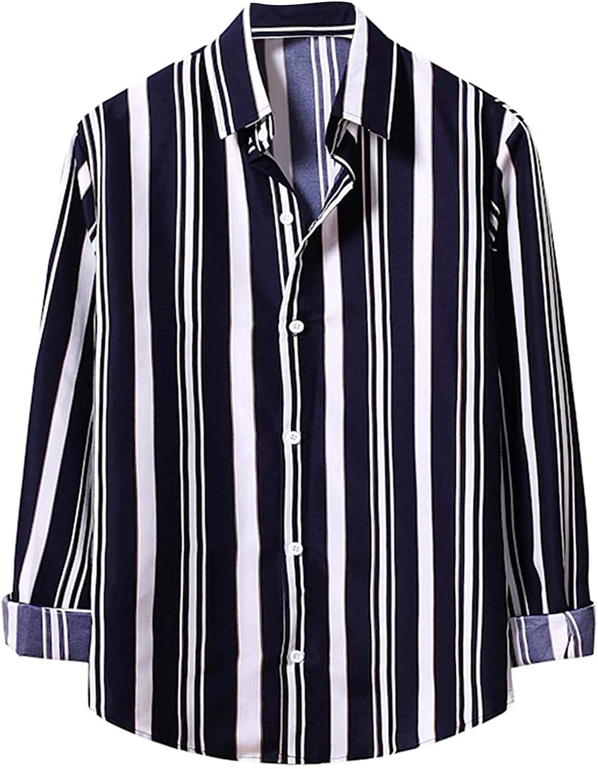 Loose Stripe Print Shirts for Men Turn Down Collar Casual Long Sleeve Buttons Tops Mens Business Work Shirts