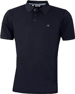 Calvin Klein Mens 2021 Campus 3 Button Light Ribbed Collar Golf Polo Shirt