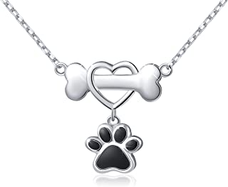 925 Sterling Silver Cute Paw Print Pendant Necklace Gift for Women Girls