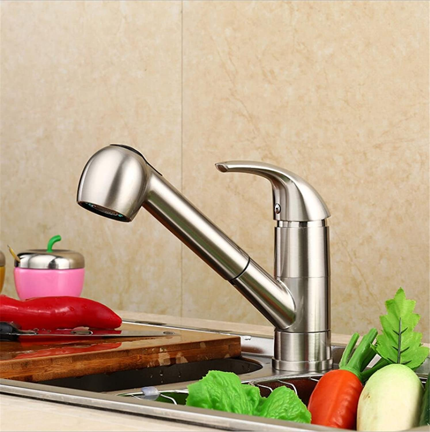 HomJo Bathroom Faucet Brass Ceramic Nickel wire drawing welding Single Hole Pull type Sink Mixer Tap