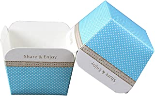 Enerhu 100 Pack Paper Baking Cup Cupcake Cups Cake Cups Cupcake Liners Disposable Oven-safe Food Grade Square Blue&White Dot