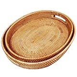 """It is a decorative rattan oval serving tray; it includes two trays;X-Large size srving tray:L38*W31*H6cm / 15""""(L)*12.2""""(W)*2.4""""(H);XX-Large serving tray:L43*W33*H6cm / 17""""(L)*13""""(W)*2.4""""(H) Material: Made of 100% durable natural rattan and wooden,wov..."""