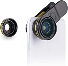 Phone Lenses by Black Eye    Combo G4 (Wide + Macro) Clip-on Lens Compatible with iPhone, iPad, Samsung Galaxy, and All Camera Phone Models
