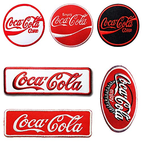 Set of 6 Enjoy Coca Cola Coke Soft Drink Iron-on or Sew-on Embroidered Applique Emblem Patch/Badge Perfect for Dress Clothes Pants Hats Caps Jeans Jackets T-Shirts Vest Backpack Gifts and Accessories
