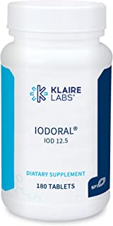 Klaire Labs Iodoral 12.5 mg - Iodine Iodide Supplement Coated to Prevent Unpleasant Taste (180 Tablets)