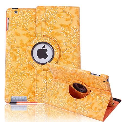 HDE iPad 2 iPad 3 iPad 4 Rotating Case 360 Degree Magnetic Cover Stand for 2nd 3rd 4th Generation iPad (Light Orange Embossed)