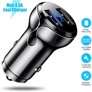 CAFELE Car Charger Dual USB, 4.8A Zinc Alloy Car Charger Adapter with LED Display, 2 Port Fast Car Charging Mini Flush Fit Car Charger for iPhone XR/XS Max, Galaxy S10/S9/S8, Note 8/9 - Black