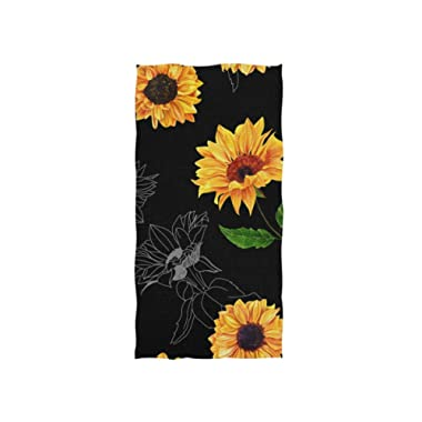 senya Watercolor Sunflowers Black Background Hand Towel Ultra Soft Luxury Towels for Bathroom 30 x15
