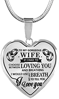 to My Gorgeous Wife I Love You Luxury Silver Necklace Heart Shaped Anniversary Birthday Wedding Gift for Her