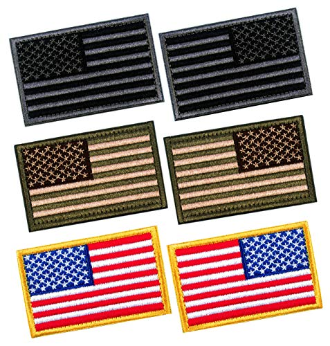 6 PCS Tactical Patches of USA US American Flag Regular and Reverse, with Hook and Loop for Backpacks Caps Hats Jackets Pants, Military Army Uniform Emblems, Size 3x2 Inches