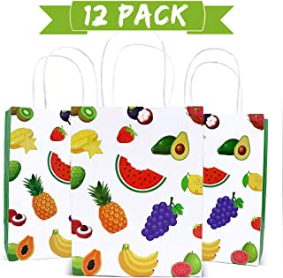 watermelon party supplies tutti frutti party decorations summer tropical fruit birthday gift bag candy kraft paper treat goodie bags with handle for Hawaiian Luau holiday swimming beach pineapple orange Pitaya pattern baby shower graduation party