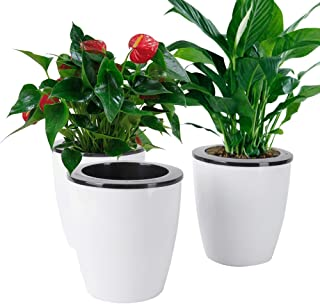 Vencer 3 Pack Self Watering Plante Flower Pot,Suitable for All Plants,Herbs,African Violets,Succulents,Flowers Or Start Plants,White,VF-059