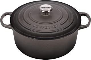 Le Creuset LS2501-267FSS Signature Enameled Cast-Iron Round French (Dutch) Oven, 5-1/2-Quart, Oyster