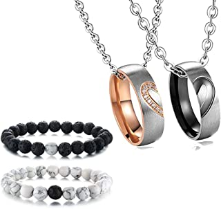 Stainless Steel Heart Matching Set Couple Ring Necklace&His and Hers Distance Beads Bracelet