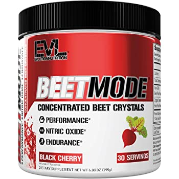 Evlution Nutrition Beet Mode, Concentrated Beet Root Crystals, Nitric Oxide Booster, Natural Circulation, Immune Support, Antioxidants, Vegan, Non-GMO, Endurance, Superfood (Black Cherry, 30 Servings)