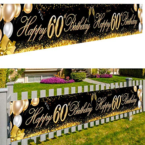 60 Jahre Geburtstag Deko,Dekoration Willkommen,Hintergrund Banner Geburtstag,Schwarz Gold Deko Geburtstag,60 Jahre Geburtstag Deko,60. Geburtstag Party Dekoration