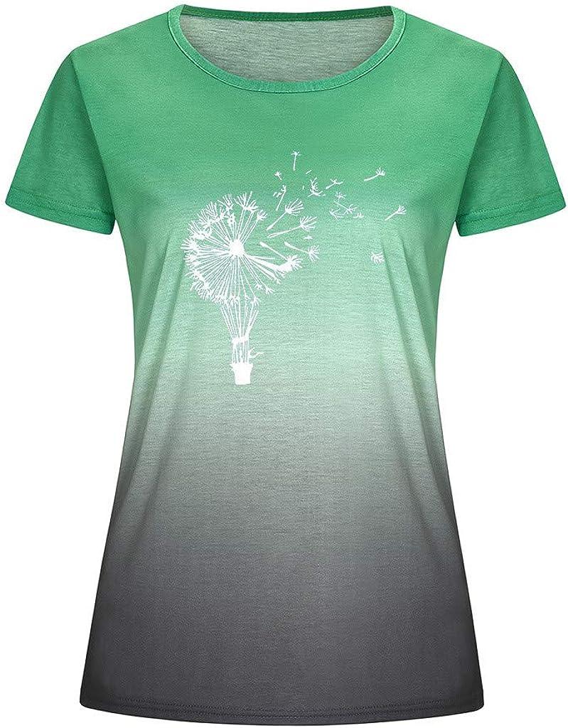 Shirts for Women Kiolenxah T Short Sleeve Graphic Gradient Floral Dandelion Print Tie Dye Tops Plus Size Tees Shirts