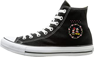 Shenigon Minnie and Mickey. Canvas Shoes High Top Sport Black Sneakers Unisex Style