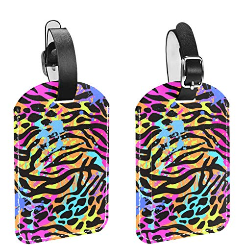 2 Packs DIY Flexible Travel Luggage Tags for Baggage Bags, Suitcases, School Bags - Name ID Labels Set for Travel Wild Sexy Leopard Print
