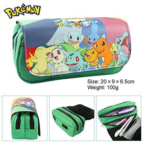Estuche para lápices de Pokémon para niños Craze UK Greeen con dos compartimentos