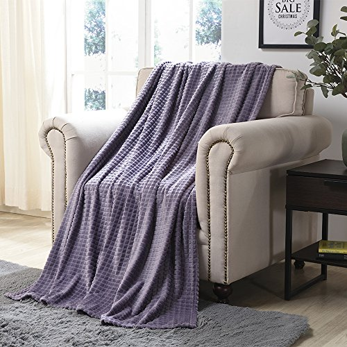 Simple&Opulence Luxury Microfiber Super Soft Throw Blanket with StereoscopicGrid Design (Purple, 50' x 70')