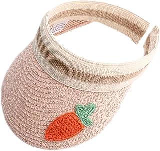 BZCSHOW Unisex Kids Sun Hats Beach Straw UV Protection Caps for Boys Girls Summer Adjustable Wide Brim Visor